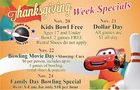 thanksgiving week specials at the bowling center 78th