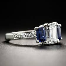 sapphire emerald cut engagement rings 1 08 carat emerald cut and sapphire three ring