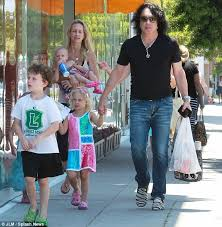 frontman paul stanley steps out make up free on a family day