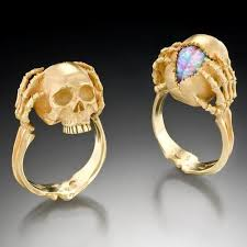 art deco skeleton ring holder images Halloweencrafts kim eric lilot skull and brain rings quot tribute to jpg