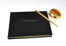 50th anniversary guest book personalized bound genuine leather guest book from blue sky papers