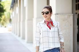 scarf blouse denim days neck scarf grid print blouse blame it on mei