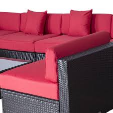 Wicker Sectional Patio Furniture - outsunny 9pc outdoor patio rattan wicker sofa sectional u0026 chaise