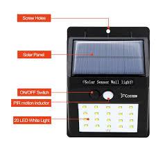 Solar Security Motion Sensor Light by Solar Power Sensor Wall Light Costech 20 Led Ultra Bright