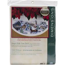 dimensions sleigh ride tree skirt counted cross stitch kit 45