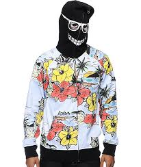 volcom vacation black zip mask hoodie zumiez
