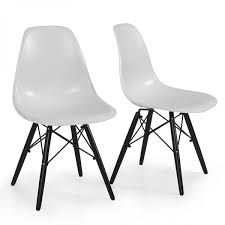 set of 2 mid century modern eames style dsw dining side chair wood