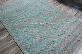 Designer Wool Area Rugs 9x12 Designer Modern Contemporary Turquoise Aqua Teal Gray Wool