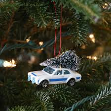 bringing home the christmas tree car ornament for kids to make