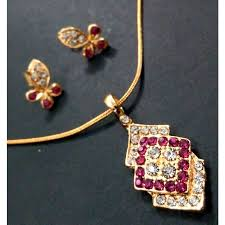 gold set in pakistan gold plated jewelry set with pink and white crystals