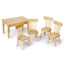 5pcs miniature dining table chair wooden furniture set for 1 12