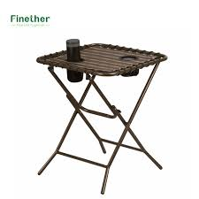 Folding Side Table Finether Folding Side Table With Mesh Drink Holders For Patio
