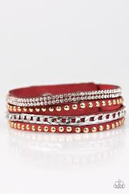 rhinestone wrap bracelet images Paparazzi quot hot glam quot red suede gold studs rhinestone wrap jpg
