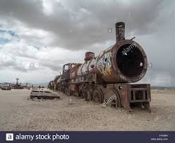 rusty train vintage rusty train at the train cemetery in uyuni desert bolivia