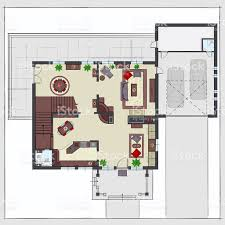 Residential House Floor Plan Residential House Plan With Furnishing Top View Stock Vector Art