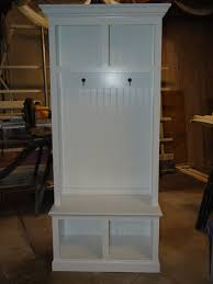 Beadboard Bench - 34 wide beadboard hall tree with 2 upper u0026 lower storage