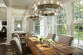 Window Treatments For Dining Room Dining Room Farmhouse Chandelier With Round Track Lighting And