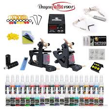 tattoo kit without machine complete tattoo kit 2 machine guns 40 ink equipment needles power