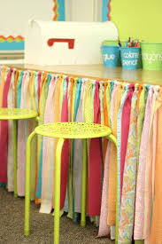 Organizing Clutter by No Sew Table Skirt Tutorial Clutter Tutorials And Classroom