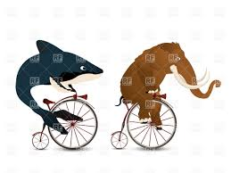 cartoon mammoth and whale racing on penny farthing bicycles