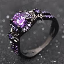 black and purple engagement rings charming amethyst ring purple zircon fashion wedding flower