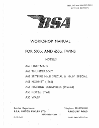 Bsa Workshop Service Manual 1966 A65 Hornet U2022 11 00 Picclick