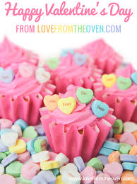 heart candies cupcakes from the oven