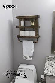 Wood Bathroom Shelves by Amazon Com Rustic Wooden Bathroom Shelf U0026 Towel Rack Rod By