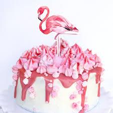Tropical Theme Birthday Cake - flamingo party cake topper tropical party topper tutti frutti