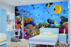 2015 new arrival 3d ocean world wallpaper fish for kids room