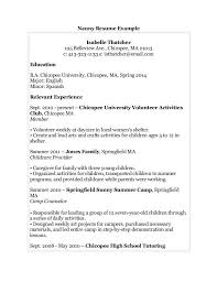 Relevant Experience Resume Examples by Download Nanny Resume Example Haadyaooverbayresort Com