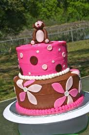 brown and pink flowers monkey baby shower cake lolo u0027s cakes u0026 sweets