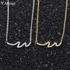 aliexpress buy new arrival 10pcs upscale jewelry aliexpress buy v attract 10pcs luxury cz wave charm necklace