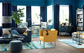 Blue Living Room Chair Ikea Living Room Furniture A Blue Living Room With A Yellow
