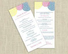 wedding program template chrysanthemum blue tea length