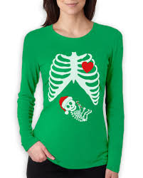 christmas pregnant skeleton women long sleeve t shirt baby xray