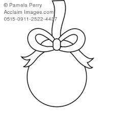clip art illustration of a christmas ornament coloring page