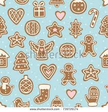 seamless pattern christmas cookies cute gingerbread stock vector