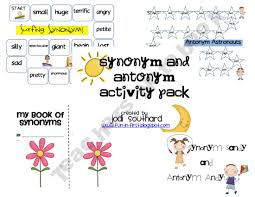 synonym antonym activity packet prek 2nd grade