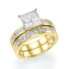set ring 2 3 ct princess cut diamond bridal ring set 14k gold couplez