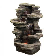 Rock Water Features For The Garden by Outdoor Fountains With Led Lights Creativity Pixelmari Com