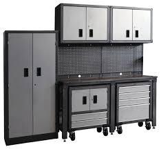 Estate Storage Cabinets 8 Piece Garage Modular Storage System Contemporary Garage And