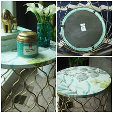 Teal Accent Table How To Quickly Update An Ugly Accent Table School Of Decorating