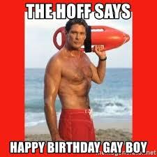 Happy Birthday Gay Meme - the hoff says happy birthday gay boy david hasselhoff meme