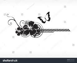 vector hibiscus flower butterfly illustration stock vector