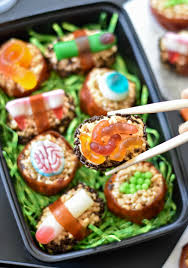 halloween candy sushi fork and beans