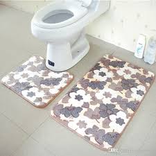 Bathroom Memory Foam Rugs Bathroom Mats Set Coral Fleece Memory Foam Rug Kit Toilet Pattern