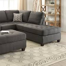 Tufted Sectional With Chaise Esofastore Living Room Furniture Ash Black Dorris Fabric 2pc