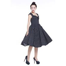 Pin 30 Black And White by Chic Star Sleeveless Black And White Retro Pin Up Polka Dot Full