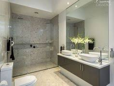 Modern Bathroom Colour Schemes - white modern bathroom with grey mosaic tiles and twin basins